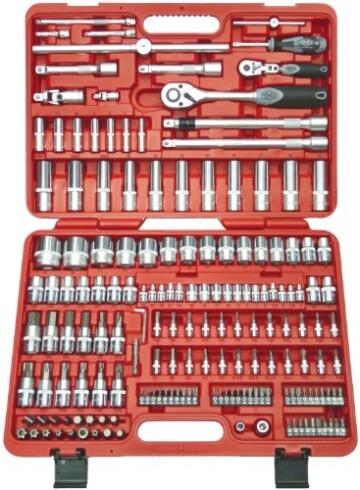 Famex 619-09 Werkzeug Komplettset High-End Qualität in ABS Schalenkoffer 32 L mit 173-teiligem Steckschlüsselsatz - 6